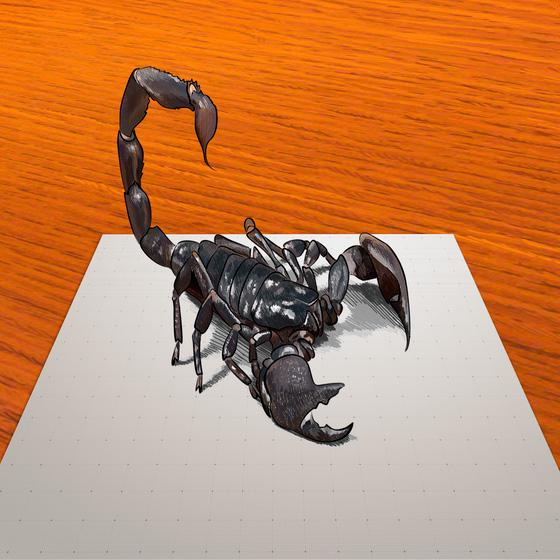 How to draw 3D drawing of a black scorpion step by step