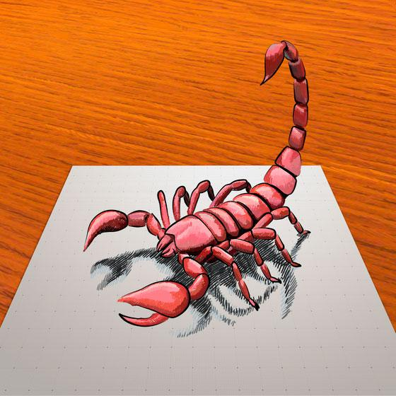 How to draw a red scorpion in 3D step by step