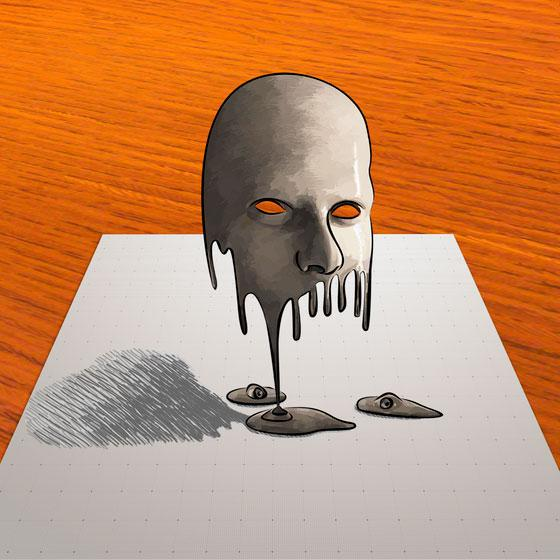 How to learn to draw a 3D mask on paper step by step