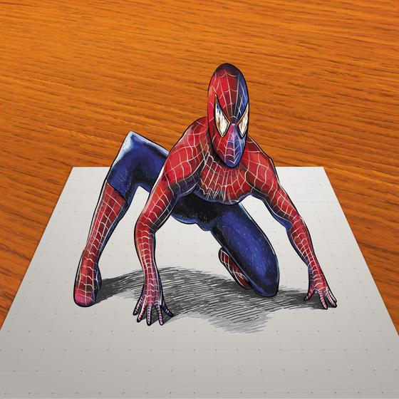 How to draw the 3D Spiderman on paper step by step