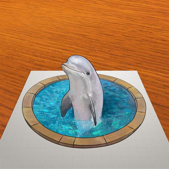 How to draw 3D drawing of a dolphin in the pool step by step