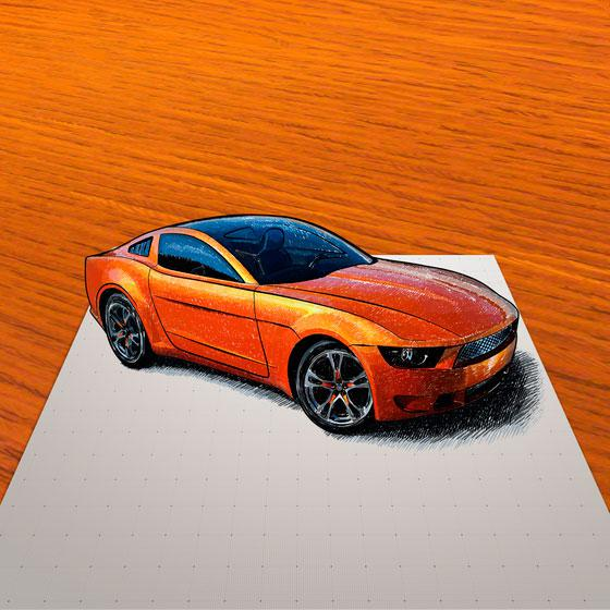 How to draw the 3D car on paper step by step