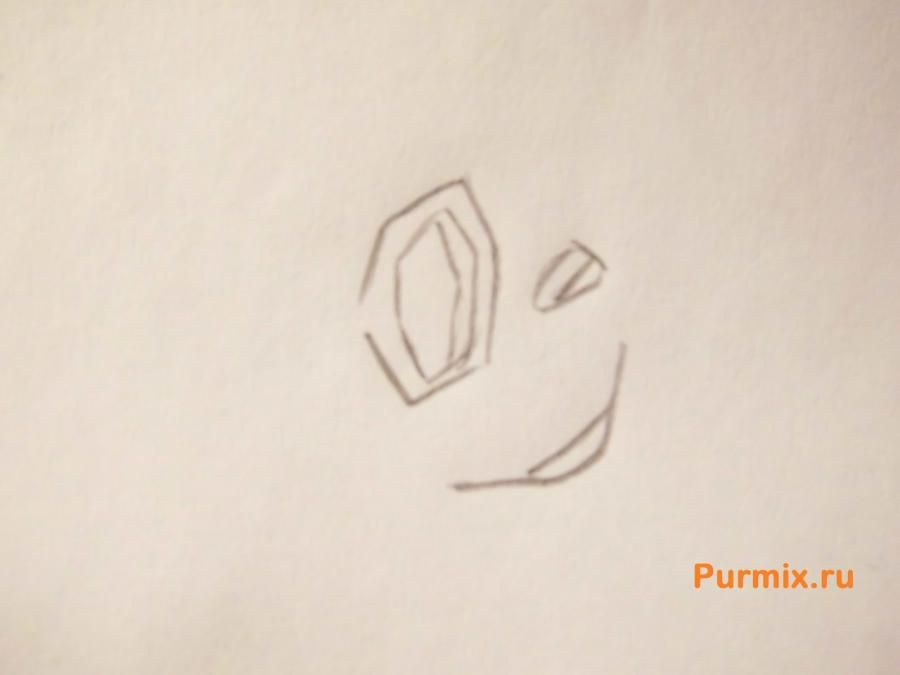 How to draw Gehry's snail from SpongeBob with a pencil step by step 2