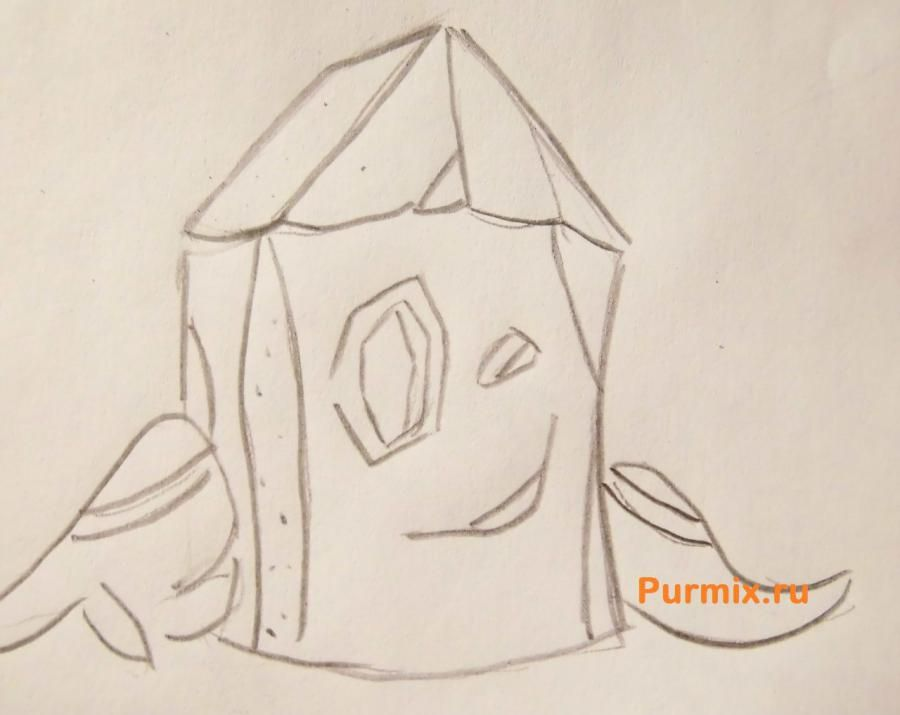 How to draw Gehry's snail from SpongeBob with a pencil step by step 5