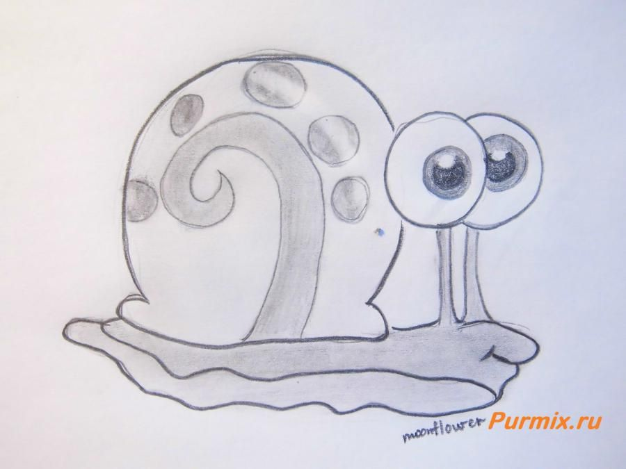 How to draw Gehry's snail from SpongeBob with a pencil step by step