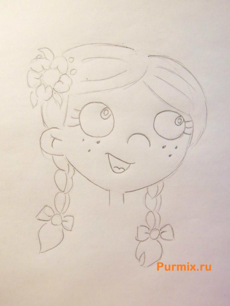 How to draw Biatris from Simpsona's cartoon serial with a pencil 4
