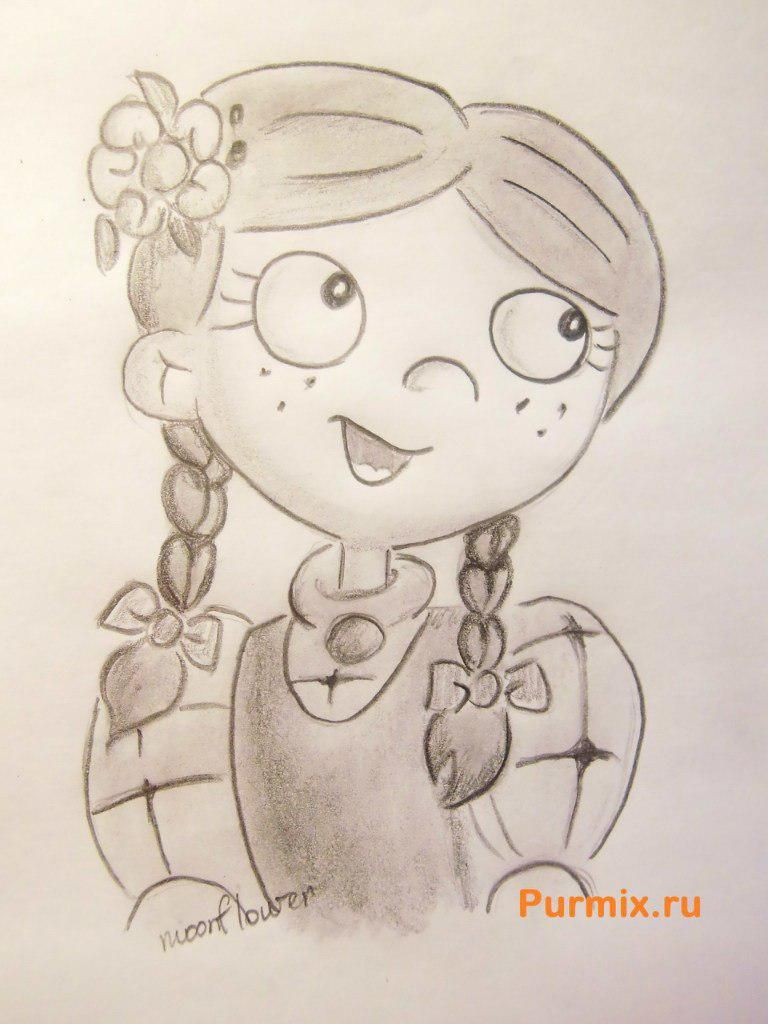 How to draw Laila Sawyer from a cartoon serial Hey, Arnold with a pencil