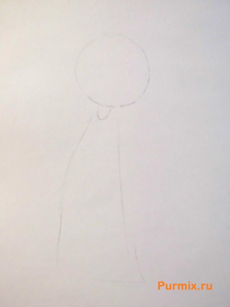 How to draw Hyman Krastofski from Simpsonov with a pencil step by step 2