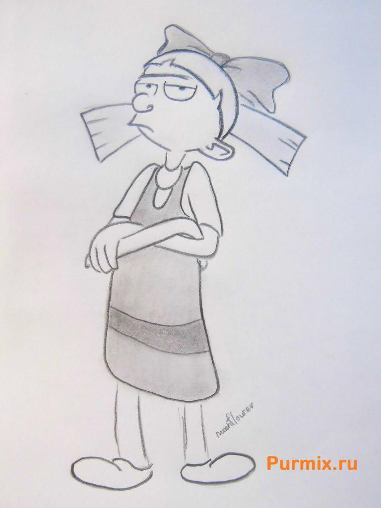How to draw Helge from a cartoon serial Hey, Arnold with a pencil