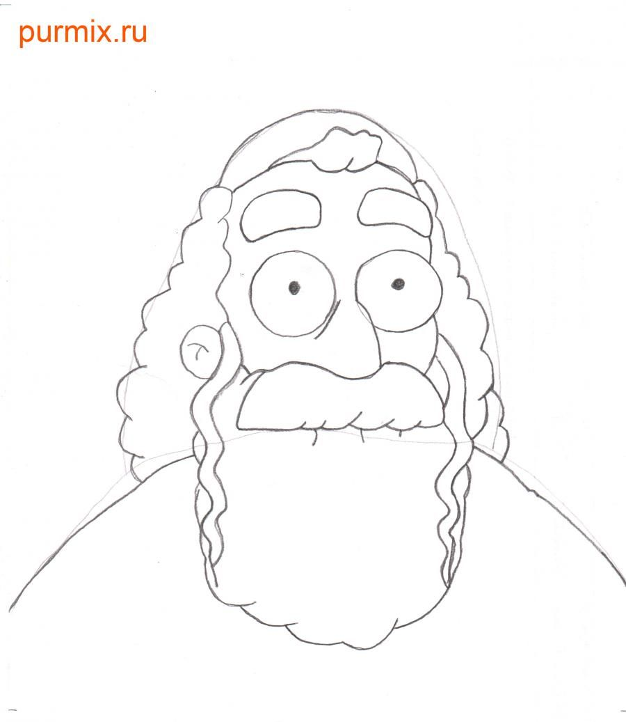 How to draw Dzhebedaya of Springfield from Simpsonov with a pencil step by step 4