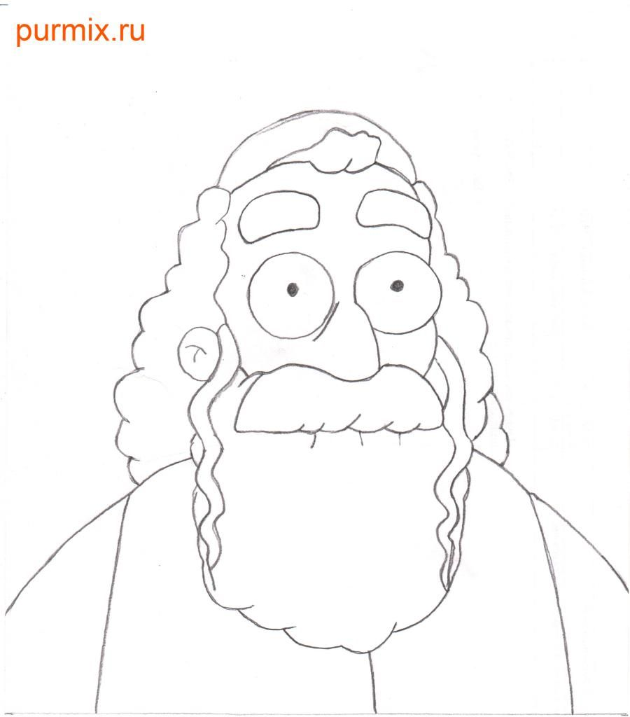 How to draw Dzhebedaya of Springfield from Simpsonov with a pencil step by step 5