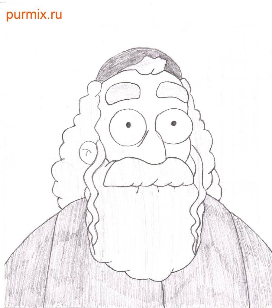 How to draw Hyman Krastofski from Simpsonov with a pencil step by step