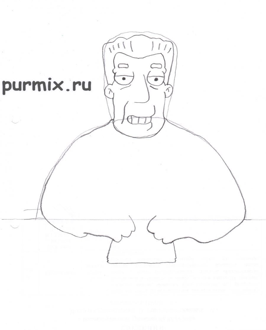 How to draw Abraham Simpson with a pencil on paper step by step 4