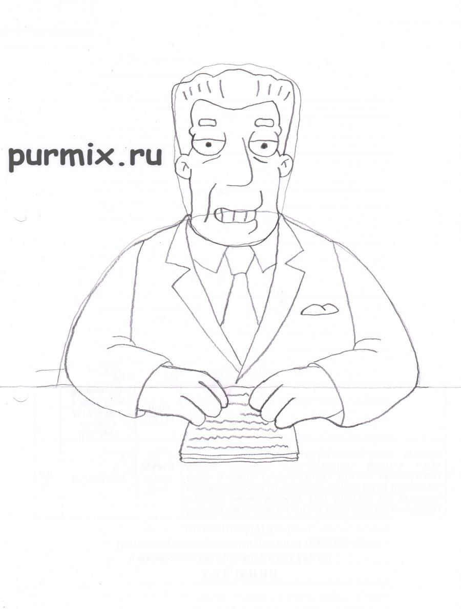 How to draw Abraham Simpson with a pencil on paper step by step 5