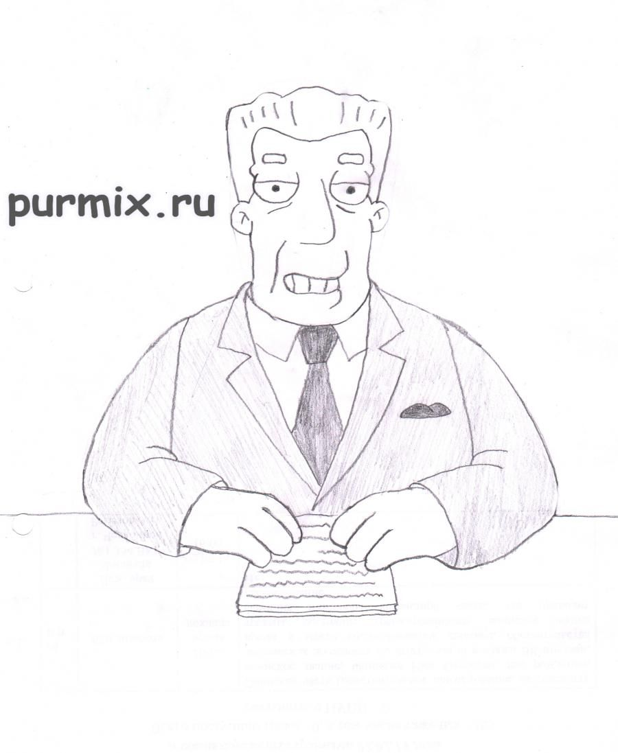 How to draw Kent Brokman from Simpsonov with a pencil step by step