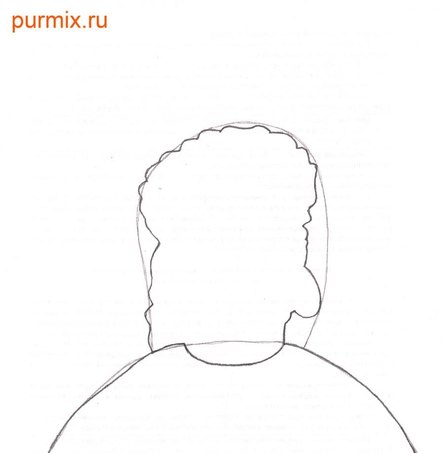 How to draw Leon Kampovski from Simpsonov with a pencil step by step 3