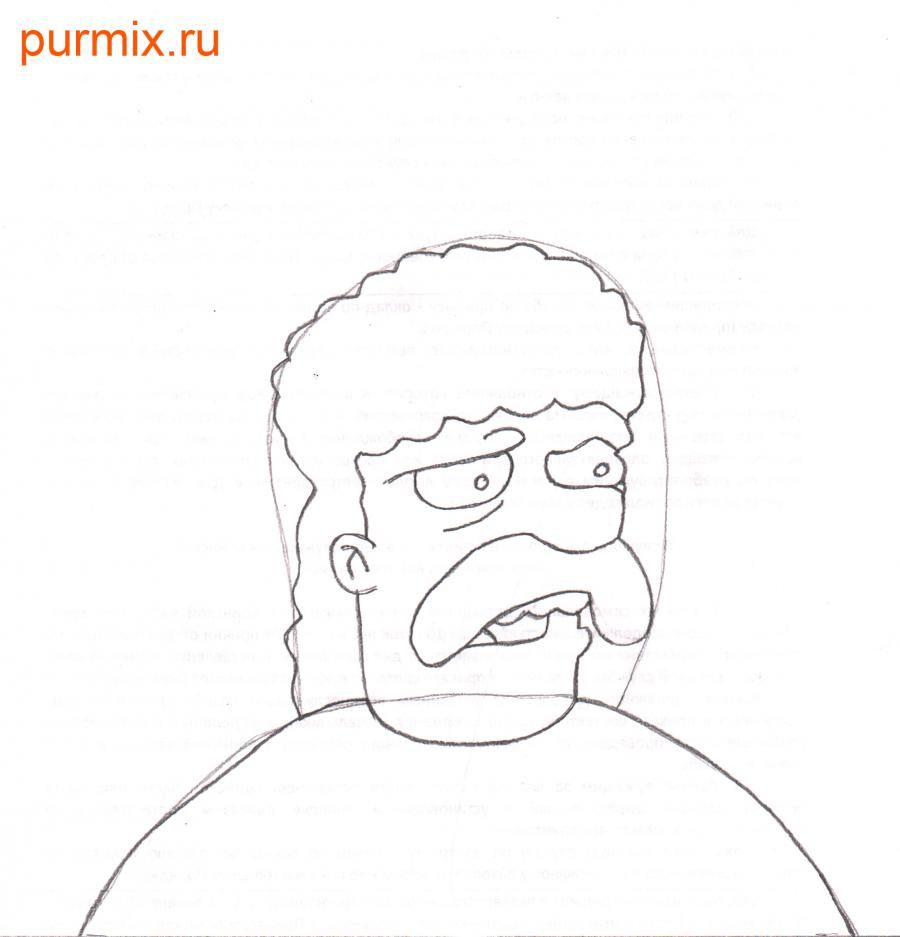 How to draw Leon Kampovski from Simpsonov with a pencil step by step 4