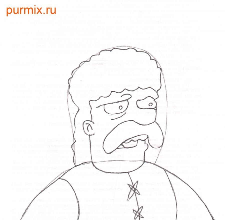 How to draw Leon Kampovski from Simpsonov with a pencil step by step 5