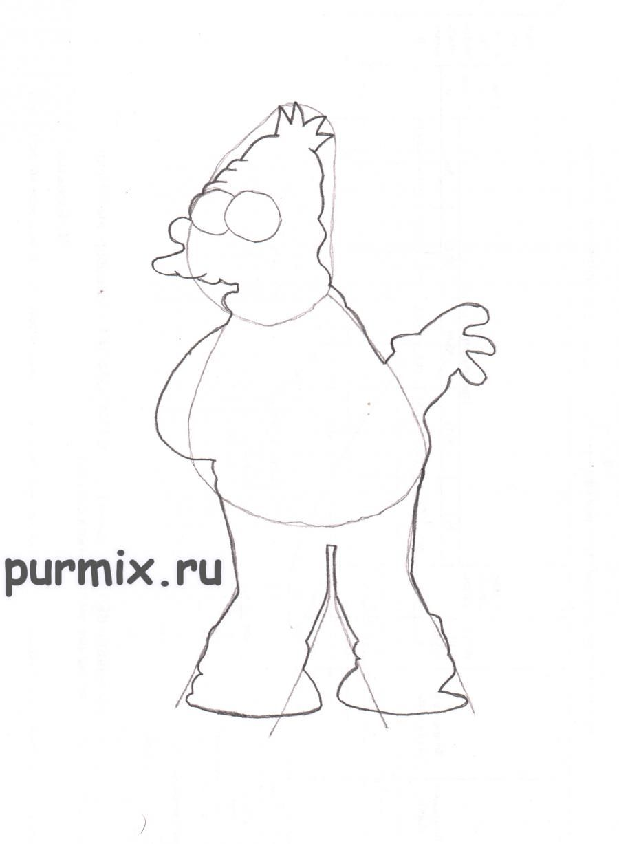 How to draw Ned Flanders from Simpsonov with a pencil step by step 3