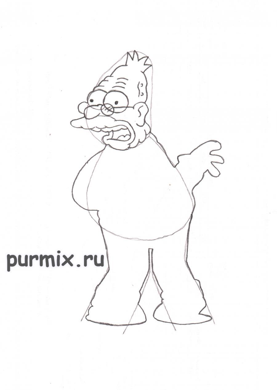 How to draw Ned Flanders from Simpsonov with a pencil step by step 4