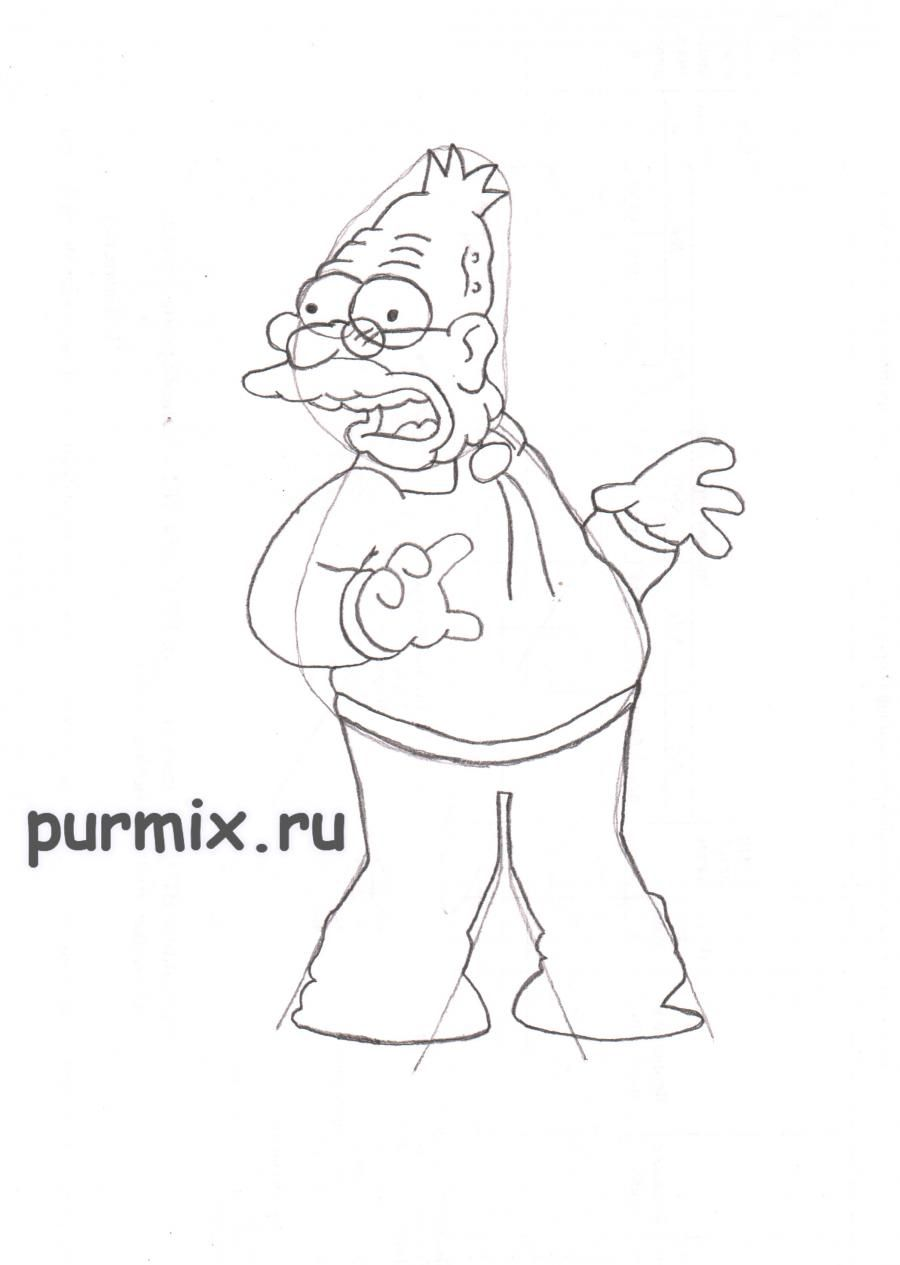 How to draw Ned Flanders from Simpsonov with a pencil step by step 5