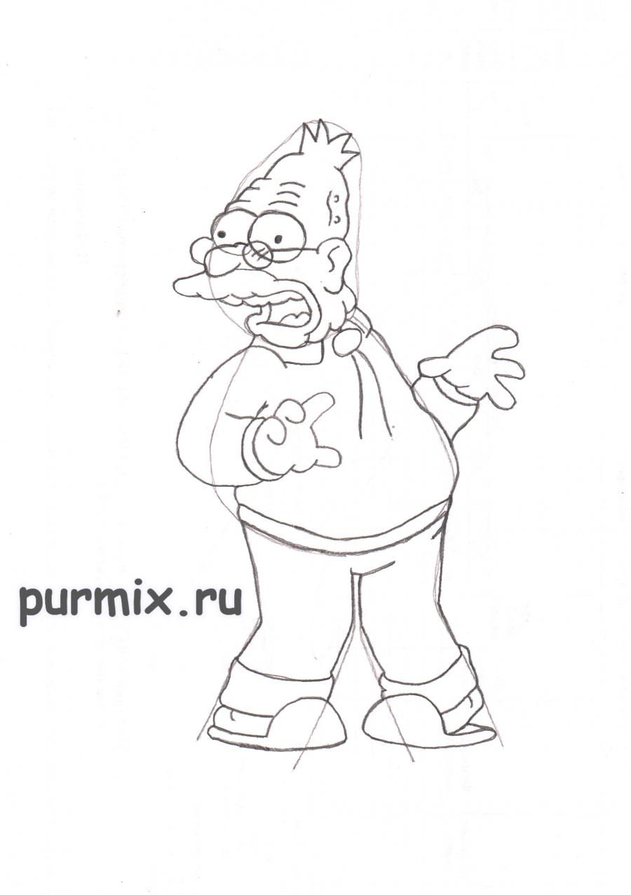 How to draw Ned Flanders from Simpsonov with a pencil step by step 6