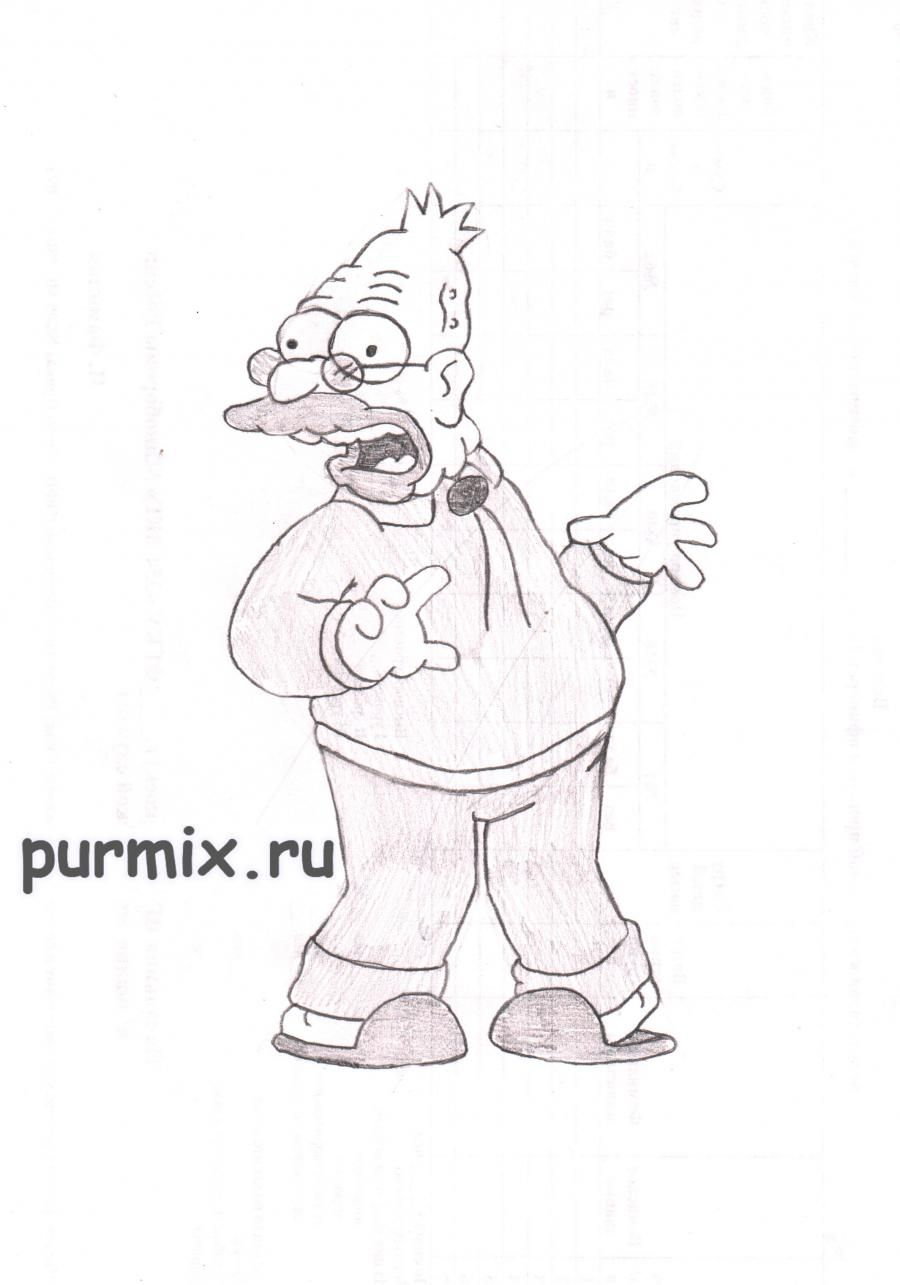 How to draw Abraham Simpson with a pencil on paper step by step