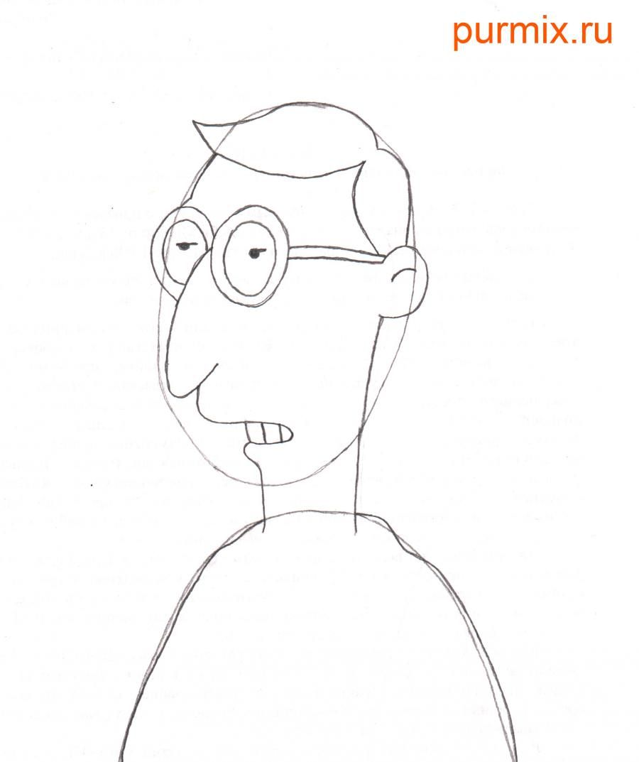 How to draw Charles Montgomery Byorns from Simpsonov with a pencil 4