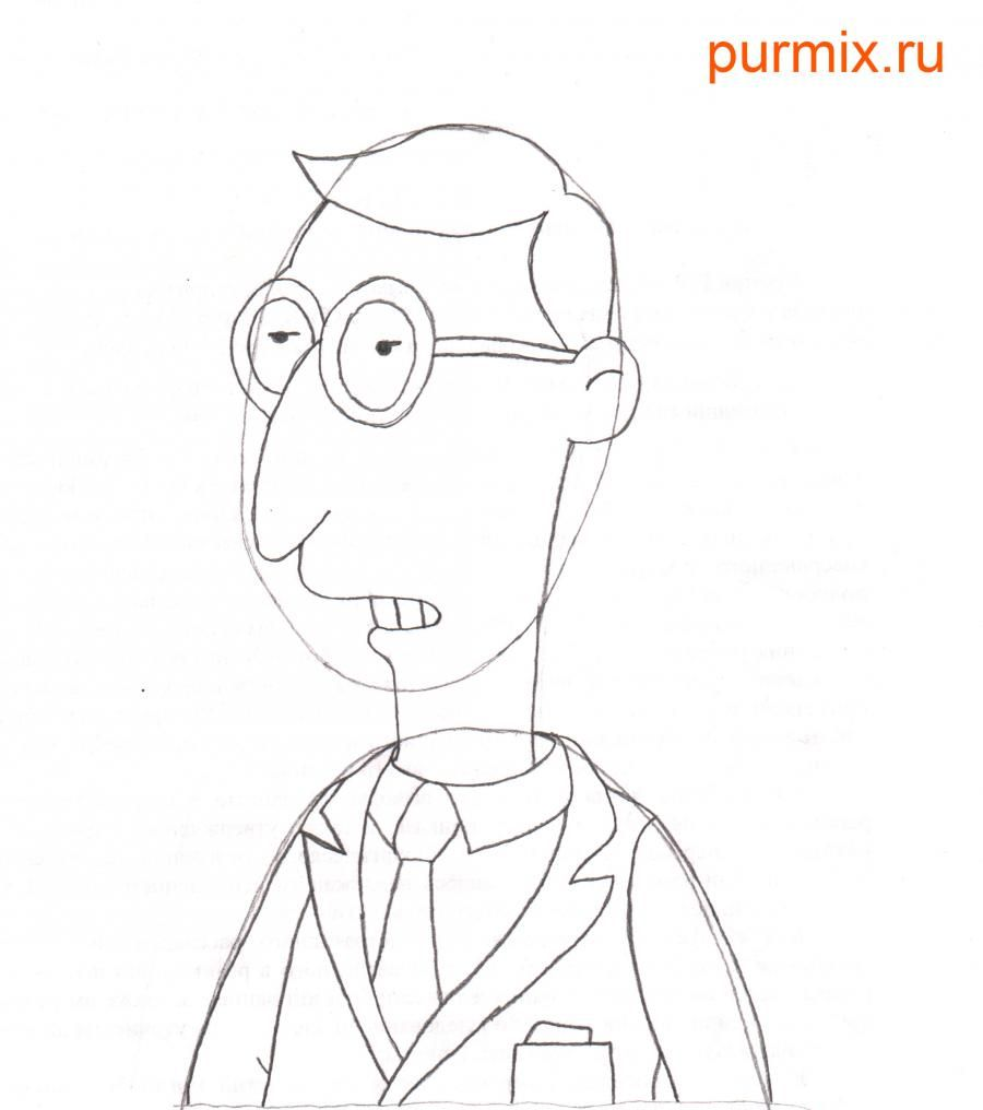 How to draw Charles Montgomery Byorns from Simpsonov with a pencil 5