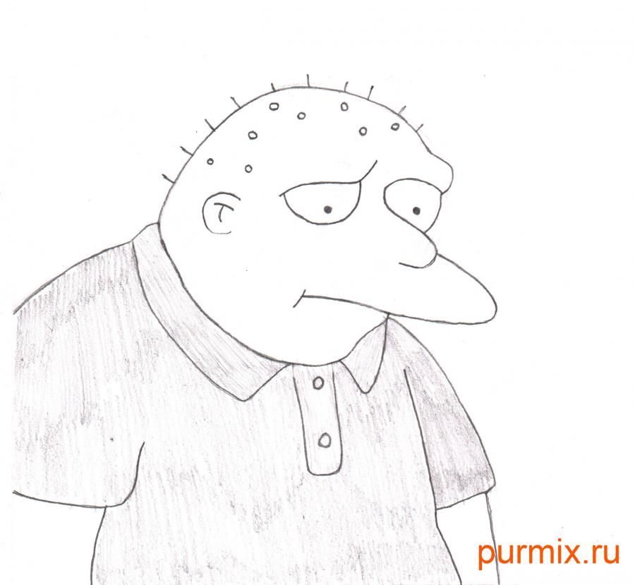 How to draw Leon Kampovski from Simpsonov with a pencil step by step