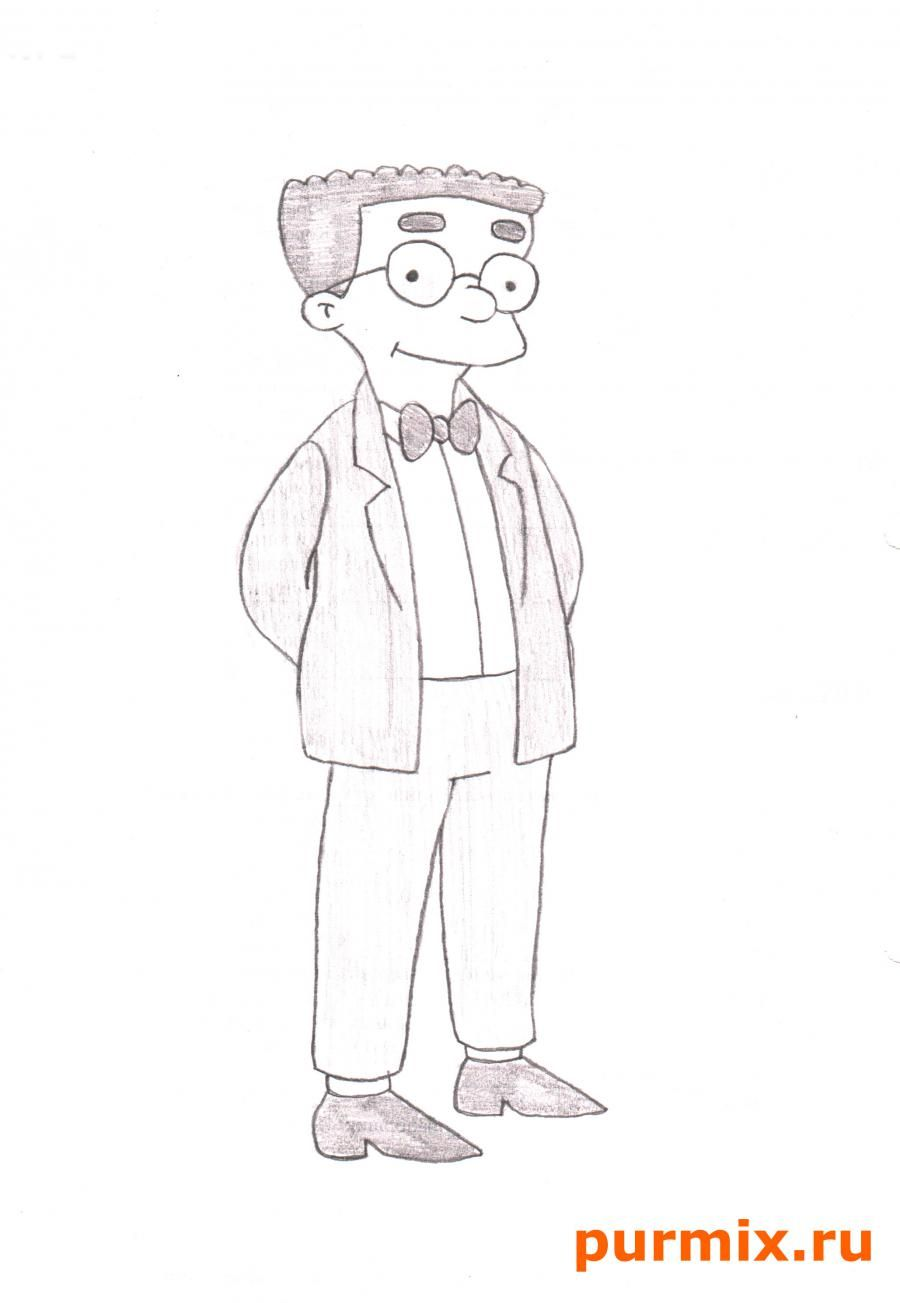 How to draw Marge from Simpsona's cartoon serial with a pencil step by step 6