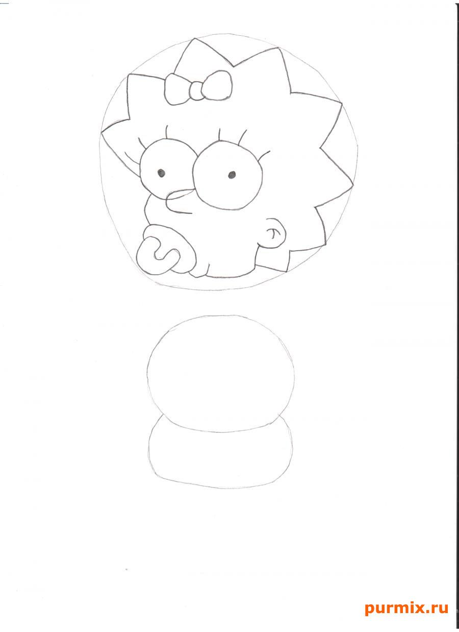 How to draw Homer from Simpsonov with a pencil step by step 3