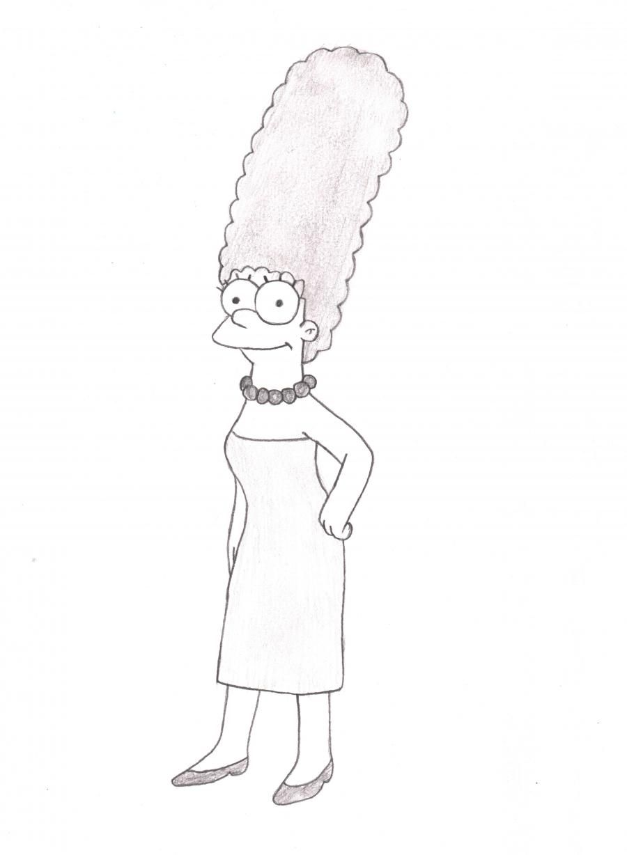 How to draw Marge from Simpsona's cartoon serial with a pencil step by step
