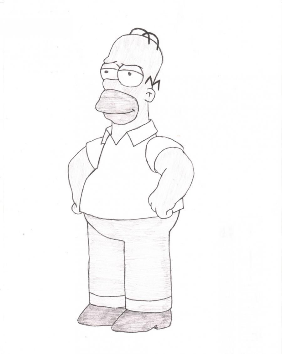 How to draw Homer from Simpsonov with a pencil step by step