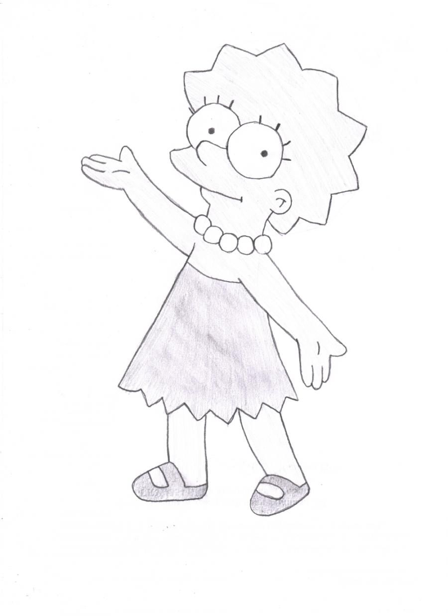How to draw Lisa from Simpsonov with a pencil step by step