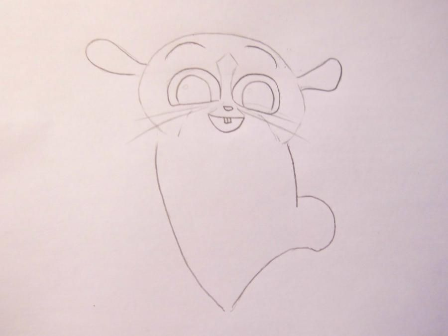 How to draw Julian from the animated film Madagascar with a pencil step by step 3