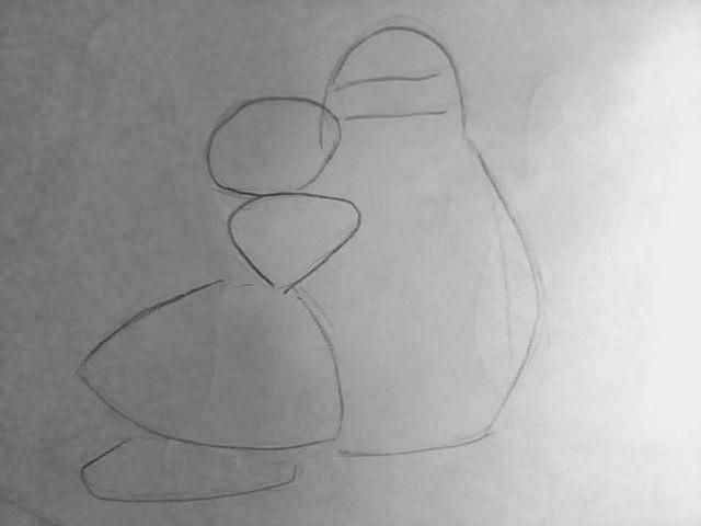 How to draw penguins from the animated film Madagascar with a pencil 2