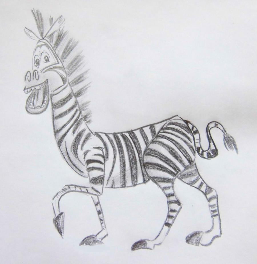 How to draw Martie's zebra from Madagascar with a pencil step by step