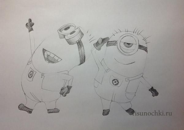 How to draw two minions from Disgusting I with a pencil step by step