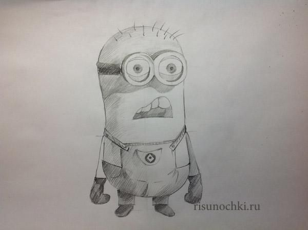 How to draw the surprised minion on paper with a pencil step by step