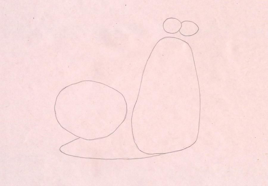 How to draw a snail the White Shadow from the Turbo with a pencil step by step 2