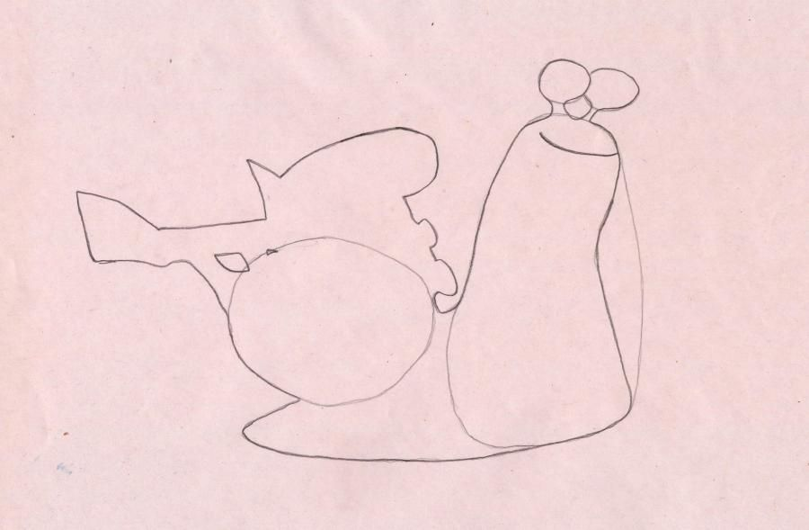 How to draw a snail the White Shadow from the Turbo with a pencil step by step 3
