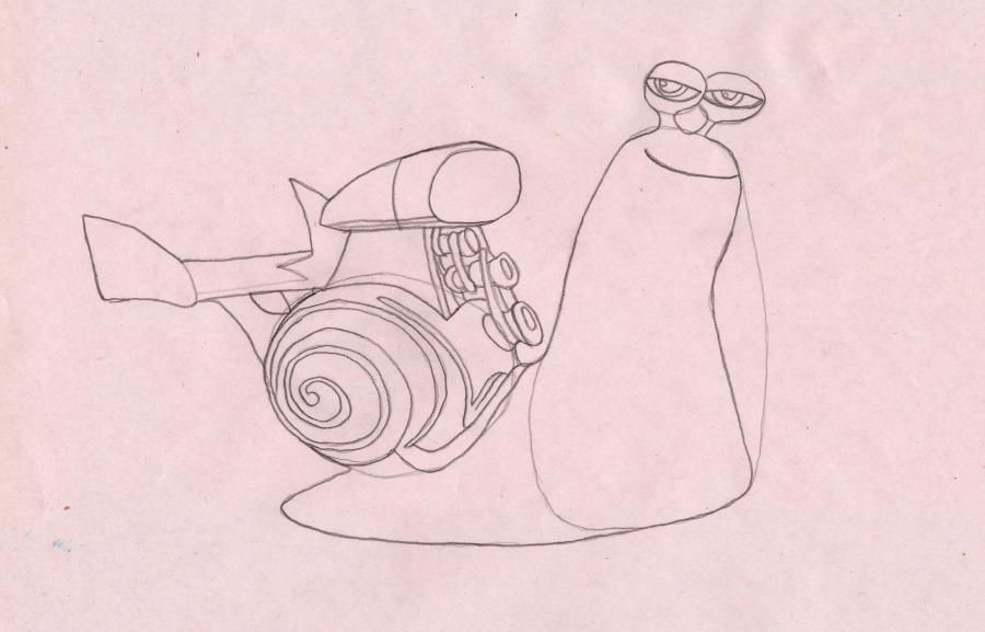How to draw a snail the White Shadow from the Turbo with a pencil step by step 5