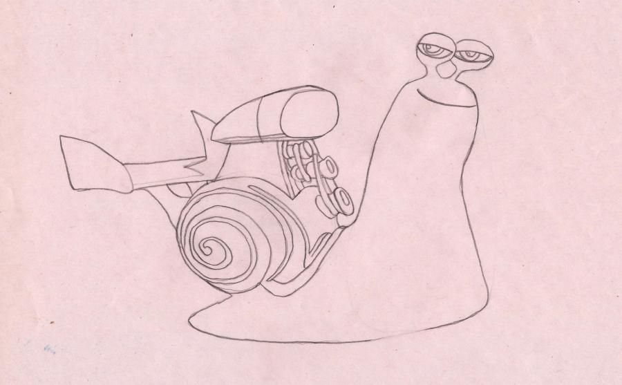 How to draw a snail the White Shadow from the Turbo with a pencil step by step 6