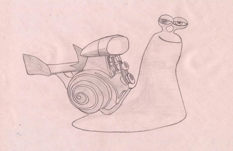 How to draw a snail the Switch from the Turbo with a pencil