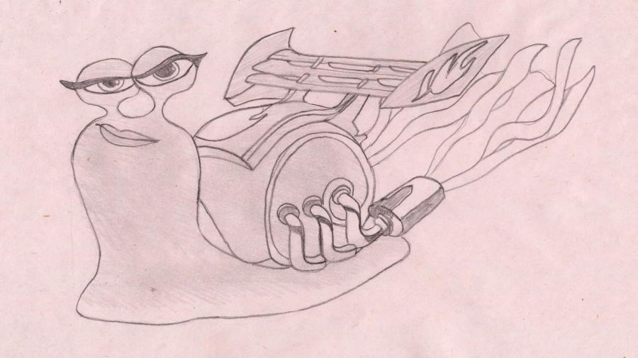 How to draw a snail the Burn from the Turbo with a pencil step by step