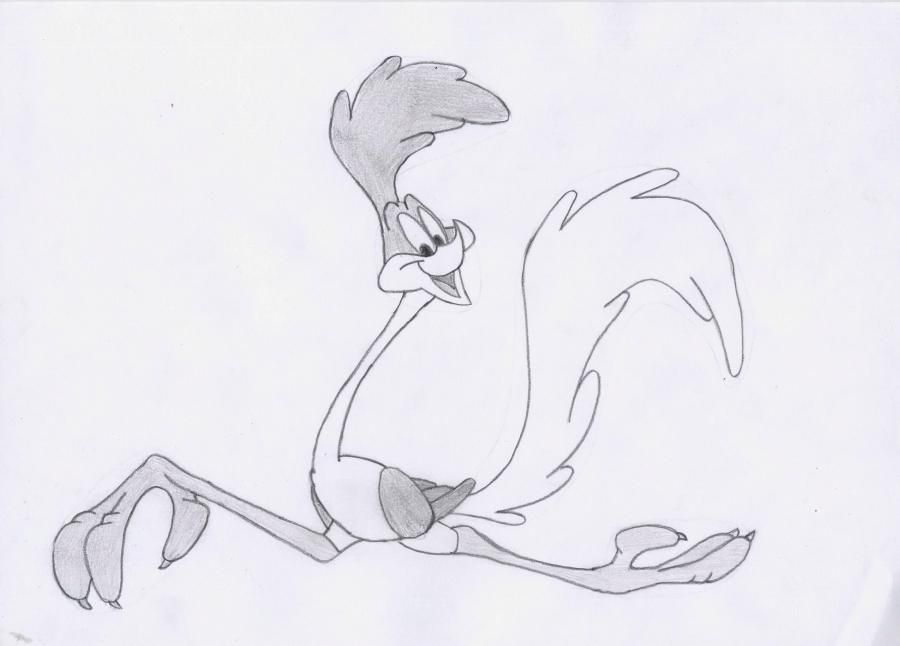 How to draw the Road runner from Cheerful melodies with a pencil step by step