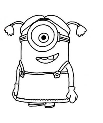 How to draw the Minion the girl with a pencil step by step