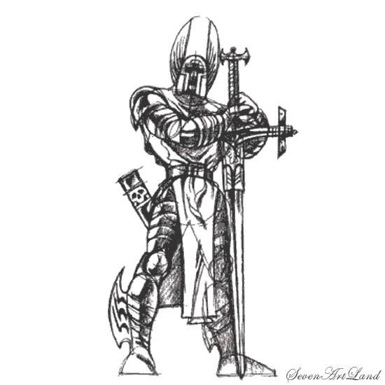 How to draw the crusader on paper with a pencil step by step