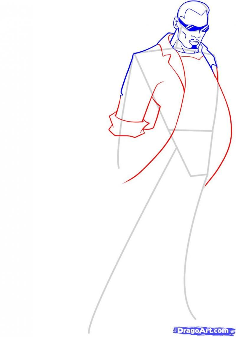 How to draw the person Hellboya with a pencil step by step 7